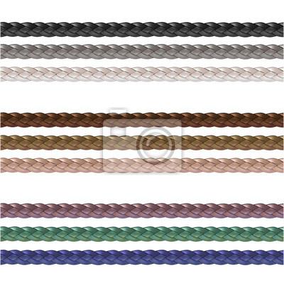 Bild Haberdashery accessories. Decorative braided element of three strand cord different colors.