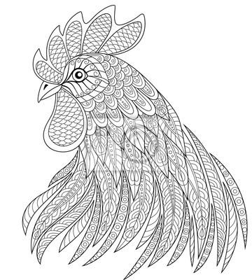 Hahnkopf In Zentangle Ausführung Symbol Des Chinesischen Neujahrs