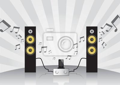 Hallo-Fi-Lautsprecher mit, Verstärker und Dock für Handy eingestellt