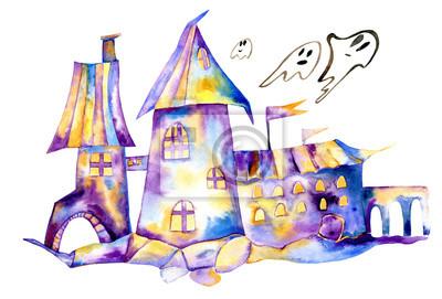 Halloween Aquarell Clipart Nacht Schloss Geister Kinder
