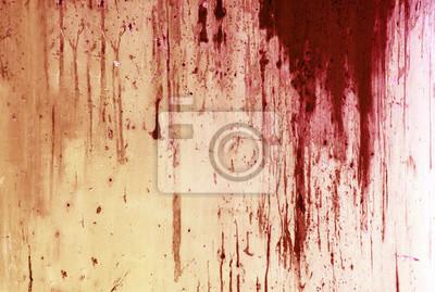 Bild Halloween Hintergrund. Blut auf Metallwand Hintergrund