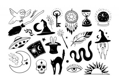 Bild Halloween icons set. Hand drawn elements for witch and witchcraft, magic stickers, magic ball, cat, witch broom. Vector illustration isolated on white background.