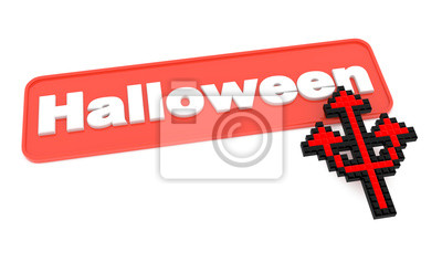 Halloween-Knopf mit Shaped Cursor Trident.