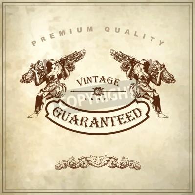 Bild Hand draw ornate royal luxury premium quality and guarantee label design in baroque style  design element of Lviv historical building, Ukraine