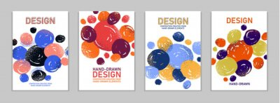 Bild Hand drawn art vector covers circles abstract backgrounds set, artistic graphic design brochures flyers or booklets, advertising colorful positive posters, textured abstraction funny and cute.