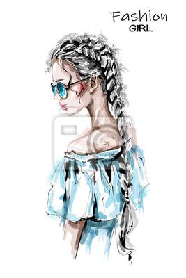 Bild Hand drawn beautiful young woman with long braid. Stylish elegant girl in sunglasses. Fashion woman look. Sketch.