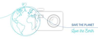 Bild hand drawn save the world concept, world heart doodle