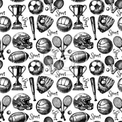 Hand drawn sketch sport seamless pattern with balls