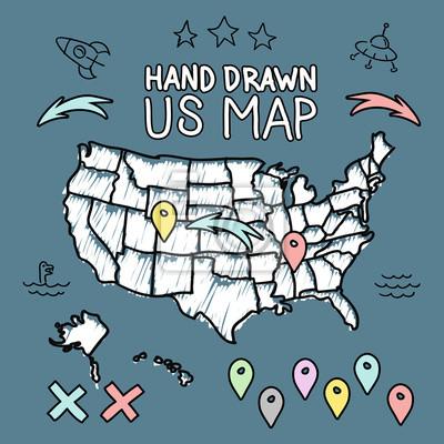 Hand drawn us map vector illustration leinwandbilder • bilder ...