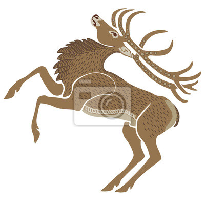 Hand-drawn vector illustration of a stag
