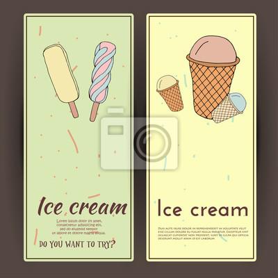 Bild Hand drawn vector illustration with ice Cream. Banner set.