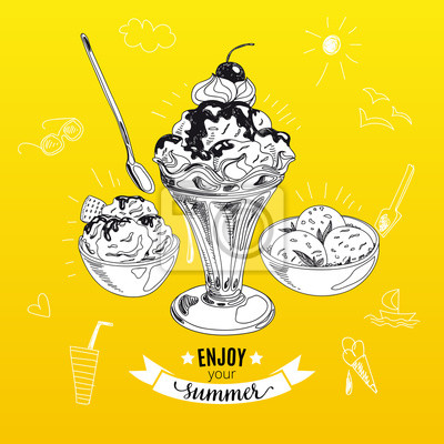 Bild Hand drawn vector illustration with ice Cream. Sketch.