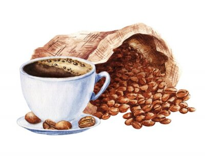 Bild Hand drawn watercolor cup of black coffee with sack of beans isolated on white background. Food illustration.