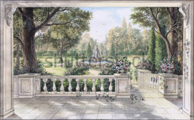 Bild Hand drawn watercolor sketch with landscape and fountain. The view from the terrace on garden with trees, flowers and fountain. View from the balcony on the garden.