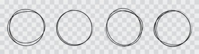 Bild Hand drawning circle line sketch set. Art design round circular scribble doodle - stock vector.