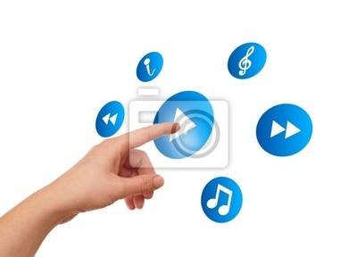 Bild Hand drücken meida-Player-Taste