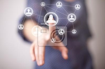 Hand drücken Social-Media-Symbol