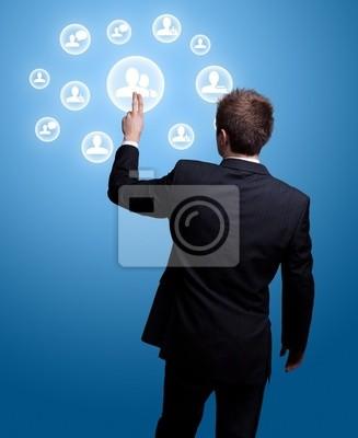 Hand drücken sozialen Netzwerk-Symbol