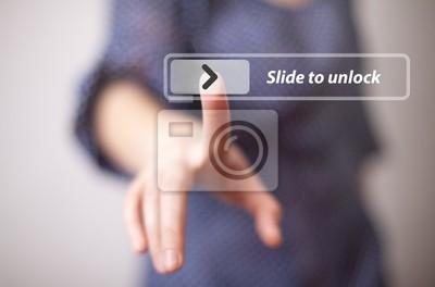 Hand drücken Touchscreen-Taste