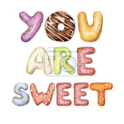 Bild: Hand gemalt aquarell worte sie sind süß geschrieben mit donut-alphabet