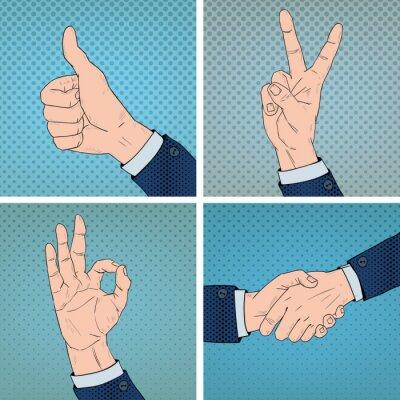 Bild Hand Gesten Set im Comic-Pop-Art-Stil