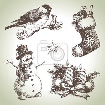 Hand gezeichnet christmas set