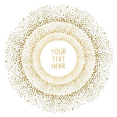 Bild Hand gezeichnet Goldpunkten Rahmen isoliert auf weißem Hintergrund. Zusammenfassung Vektor-Design-Vorlage für.