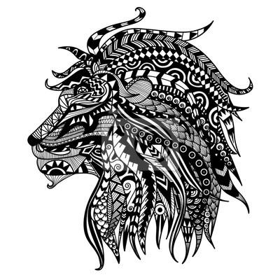 Bild Hand Gezeichnet Löwe Malvorlage