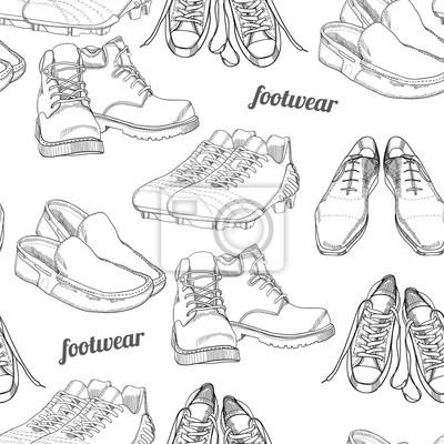 Hand Gezeichnet Nahtlose Muster Manner Schuhe Lustige Und