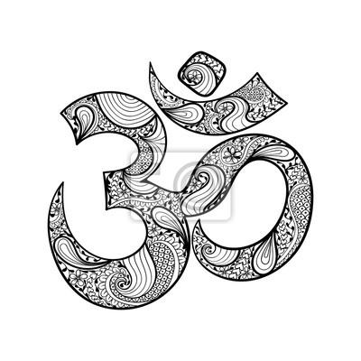 Hand Gezeichnet Ohm Symbol Indische Diwali Spirituelle Zeichen