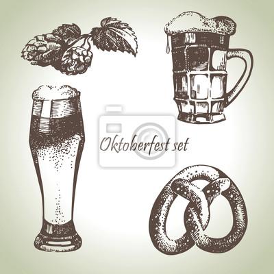 Hand gezeichnet Oktoberfest Satz von Bier, Hopfen und Brezel