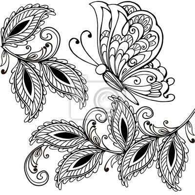 Hand gezeichnet schmetterling und dekorative blätter erwachsenen ...
