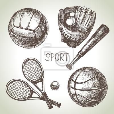 Hand gezeichnet Sport gesetzt. Skizzieren Sie Sportbälle. Vektor-Illustration