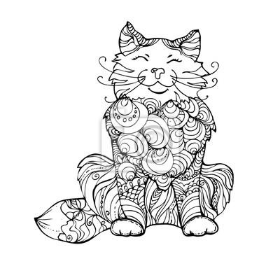 Hand gezeichnet tinte doodle katze auf weißem hintergrund ...