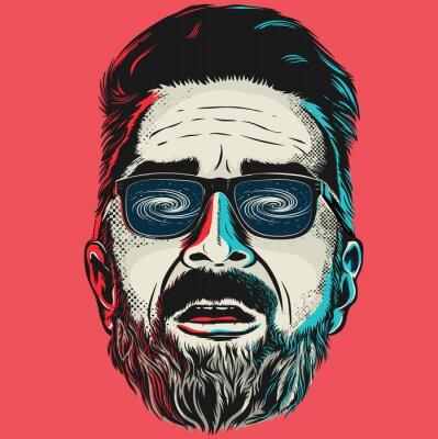 Bild Hand gezeichnet Vektor Gesicht eines Hipster Mann mit Brille.