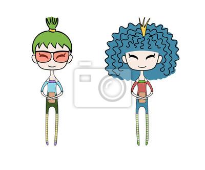 Hand Gezeichnet Vektor Illustration Von Zwei Kawaii Trendy Mädchen