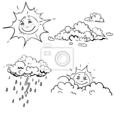 Hand gezeichnet vektor kinder-malbuch mit regen wolke, sonne ...