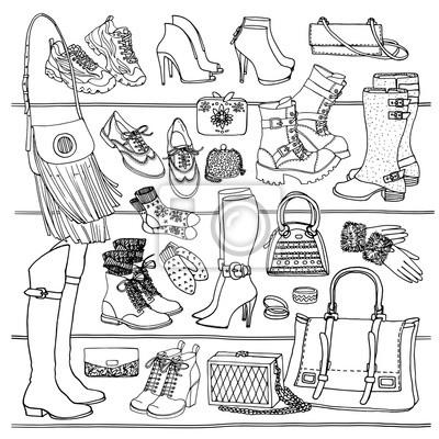 Hand Gezeichnet Vektor Nahtlose Muster Von Schuhen Taschen Und