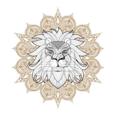 Hand Gezeichnet Zentangle Ornamental Löwe Auf Mehendi Mandala