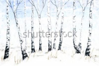 Bild Hand gezeichnete Aquarellwinterlandschaft. Waldillustration, Winterbäume. Birke