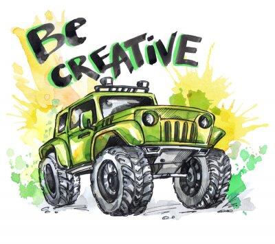 Bild Hand gezeichnete Karte mit großem Auto und Schriftzug. Worte sind kreativ. Aquarell-Mehrfarben-Illustration. Aktiver verrückter Sport. Transport.
