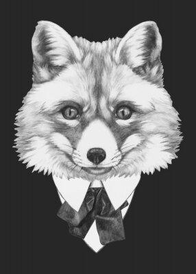 Bild Hand gezeichnete Porträt von Fox mit Brille. Vector isoliert Elemente.