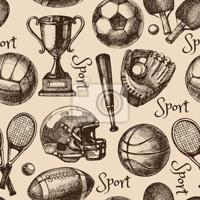 Bild Hand gezeichnete Skizze Sport nahtlose Muster mit Kugeln