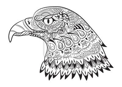 Bild Hand Gezeichneten Adler Zentangle Für Ausmalbilder Für Erwachsene