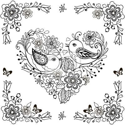 Hand Gezeichneten Blumen Und Vogel Fur Die Anti Stress Malvorlage