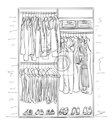 Kleiderschrank gezeichnet  Hand gezeichneten kleiderschrank. kleider skizze. leinwandbilder ...
