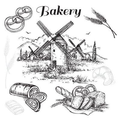 Bild Hand gezeichneten Satz Bäckerei