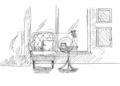 Hand Gezeichneten Stuhl Schreibtisch Fenster Auf Dem