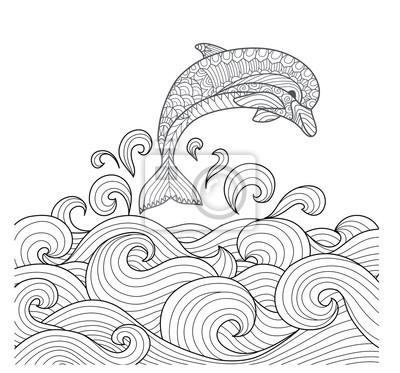 Hand Gezeichneten Zentangle Delphin Mit Scrolling Sea Wave Für