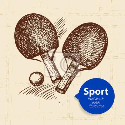 Hand gezeichneter Sportgegenstand. Ping Pong skizzieren. Vektor-Illustration